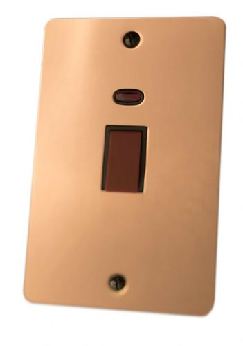 G&H FBC28B Flat Plate Bright Copper 45 Amp DP Cooker Switch & Neon Vertical Plate